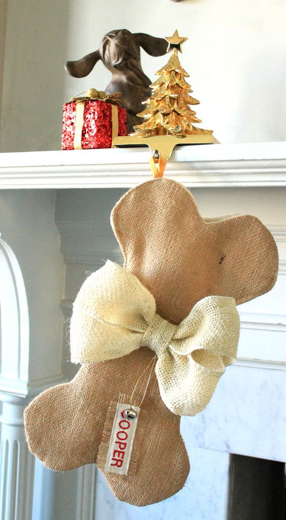 Ready To Ship Dog Bone Christmas Stocking Unique Burlap