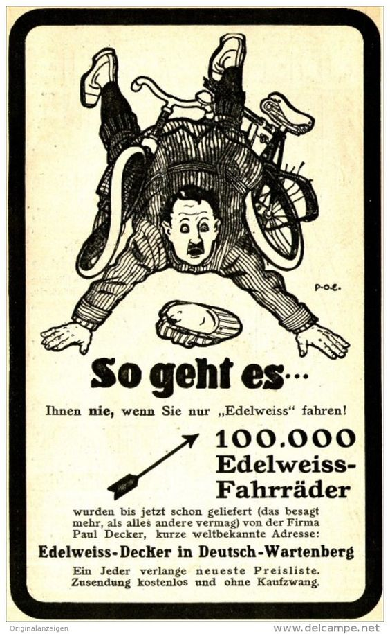 Original-Werbung/ Anzeige 1910 - EDELWEISS- FAHRRÄDER DECKER / RÜCKSEITE…