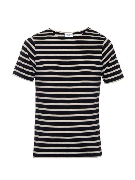 Striped cotton-jersey T-shirt | Saint Laurent | MATCHESFASHION.COM US