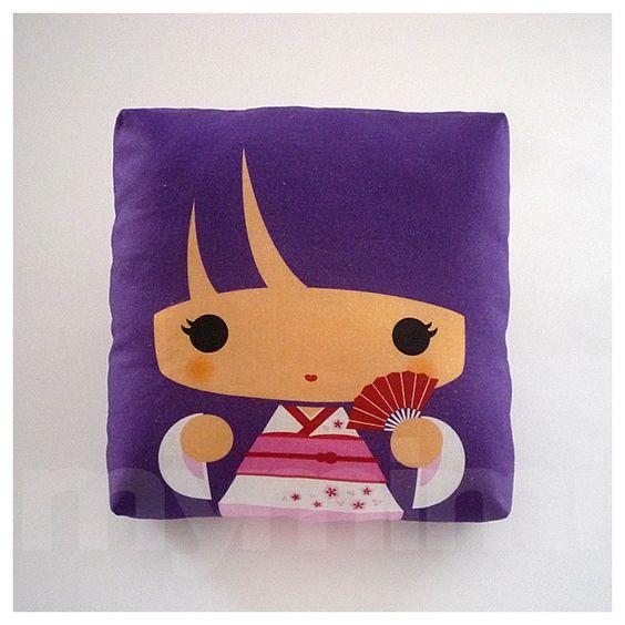 How To Make A Doll Decorative Pillow : Decorative Pillow, Mini Pillow, Throw Pillow, Kawaii Toy Pillow, Stuffed Doll - Purple Kokeshi ...