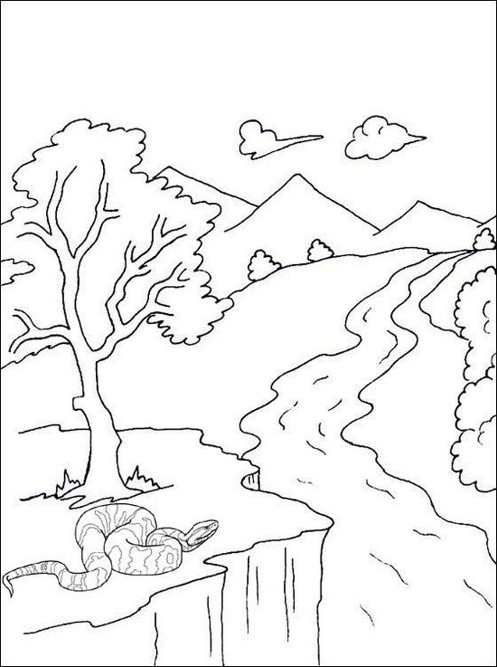 River Mountain And Snake Scenery Coloring Page Coloring Pages