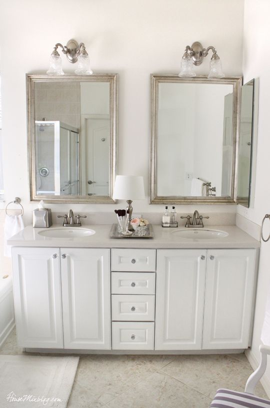 Glamorous Silver White And Sparkly Master Bathroom