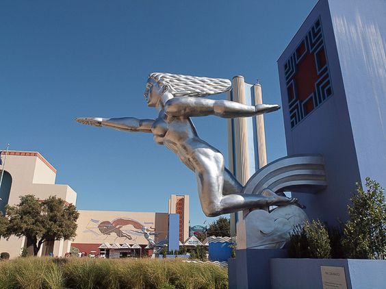 "Art Deco Building Statues | Installation of replica statue,""Contralto"" at Fair Park, Dallas,"