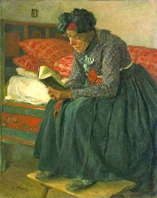Hausandacht by Adolf Hölzel born May 13, 1853 in Olomouc (Moravia), Czech Republic died October 17, 1934 (81) in Stuttgart, Germany