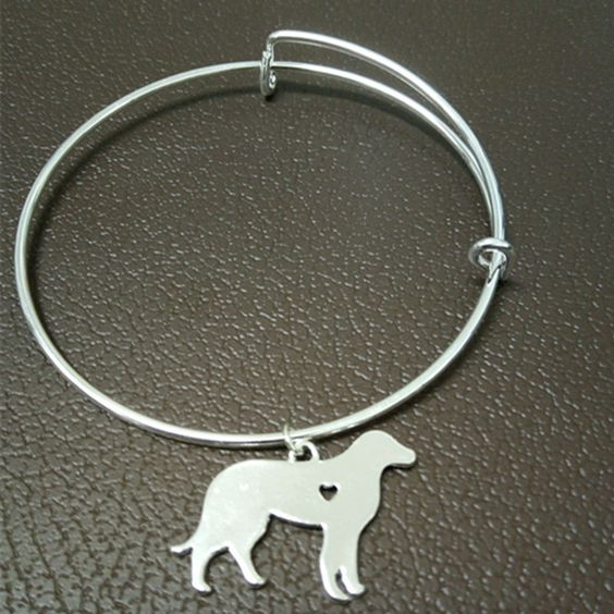 Labrador silver bangles jewelry adjustable bracelet