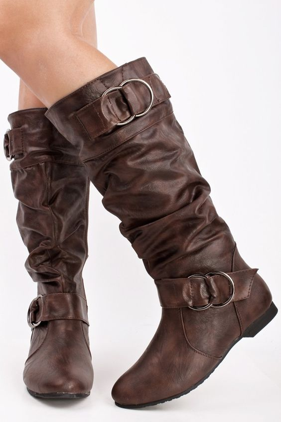 BROWN LEATHER SLOUCHY SCRUNCHED DOUBLE RING BUCKLE KNEE HIGH BOTOS ...