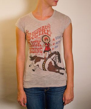 Beige 'Trick Riding' Cap-Sleeve Tee - Women by Red Barn Ranch #zulily #zulilyfinds