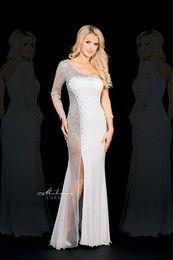 Milano Formals E1594 - Long Single Side Sheer Sequin Dress w/ Slit Skirt