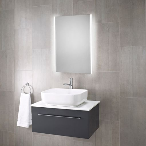 Bailey Led Illuminated Bathroom Mirror With Shaver Socket Grey Bathroom Mirrors Illuminated Bathroom Cabinets Mirror Cabinets