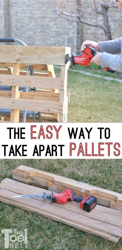 How To Take Apart Pallets Easy Her Tool Belt Pallet Diy Wood Pallet Projects Wooden Pallet Projects