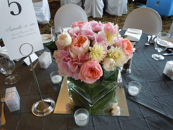 Square glass vase centerpiece with pink hydrangea