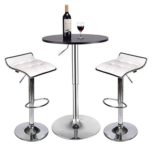 3 Piece Pub Table Set Round Table And 2 Piece Bar Stools Kitchen Dining Furniture Set White Barstool Black Pub Table Adjustable Bar Stools