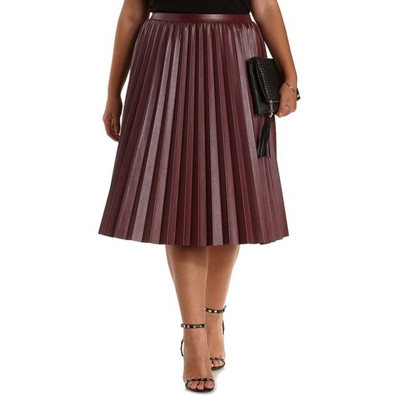 Charlotte Russe Plus Size Burgundy Pleated Faux Leather Midi Skirt ...