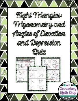 Worksheets Quiz Of Angle Of Depression Circle The Correct Answer trigonometry quizes and depression on pinterest right triangles angles of elevation quiz