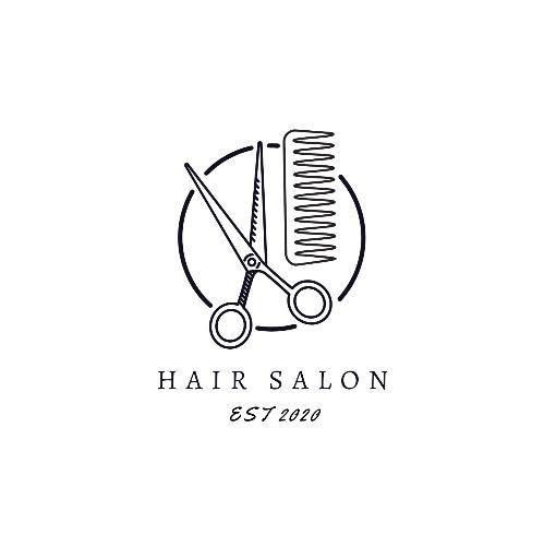 Circle Scissors Comb Simple Hair Salon Logos Salon Logo Design Salon Logo