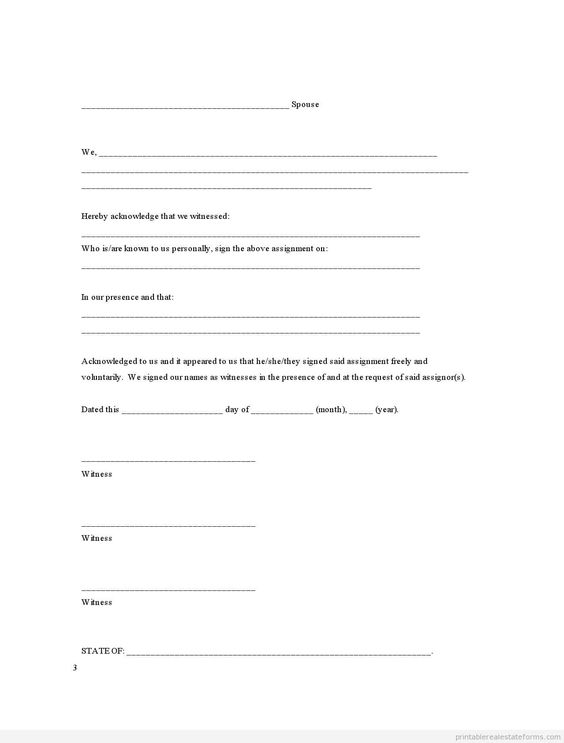 Assignment Joint Ownership With Right Of Survivorship Realestate   Printable  Affidavit  Free Printable Affidavit Form