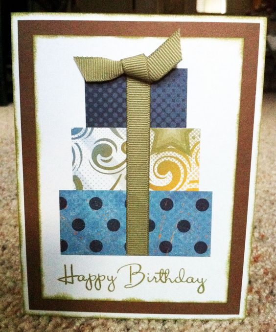 Male birthday card idea - anyone can make this with leftover scrapbook paper.  Great idea!