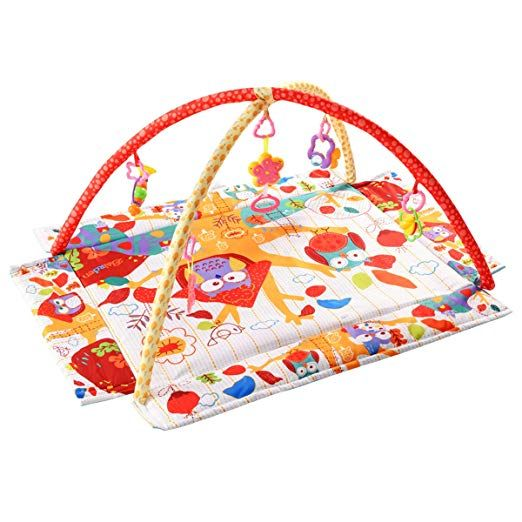 Costzon Baby Play Gym Mat 3 In 1 Activity Mat With Removable Toys Bars Walls 5 Piece Hanging Toys Including Music Trumpet Functions Eco Friendly Foldable Baby Play Gym Play Mat