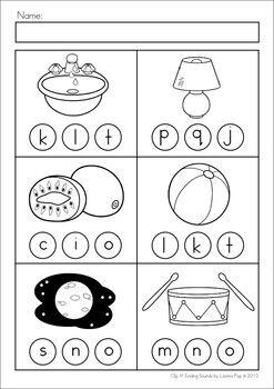 math worksheet : clip it!  ending sounds  beginning sounds activities and assessment : Ending Sound Worksheets For Kindergarten