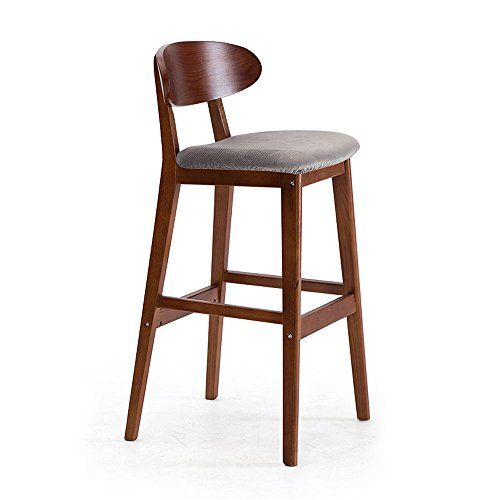 Ms Furniture Solid Wood Bar Chair European Minimalist Retro Curved Backrest Creative Bar Stool Size Retro Bar Stools Wood Bar Stools Solid Wood Dining Chairs