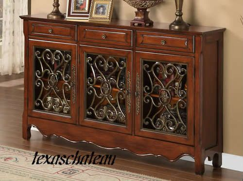 Foyer Console Cabinet : Walnut scroll console sofa hall foyer table cabinet powell