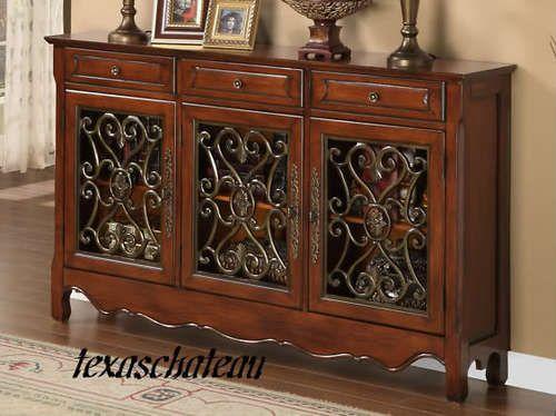 Foyer Console Cabinet : Walnut scroll console sofa hall foyer table cabinet powell