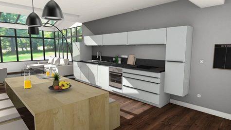 Cuisine Equipee Design Vue 3d Lineaire De 11 A 15 M Blanche Et