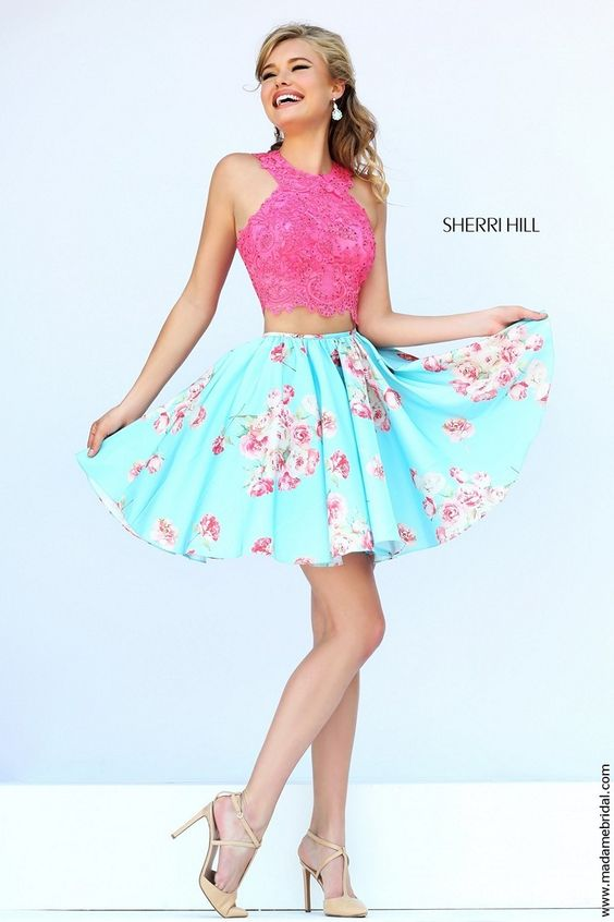 sherri-hill-32245-pink-short-dress-two-piece-lace-crop-top-polka ...
