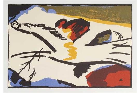 """Kandinsky, Wassily: """"Lyrisches"""". Farblithographie zu einer Ausstellung """"Der Blaue Reiter"""". Mourlo"""
