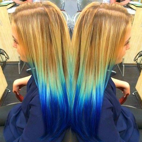 Dyed Hair Dip Dye Hair Blue Hair Ombre Hair Color