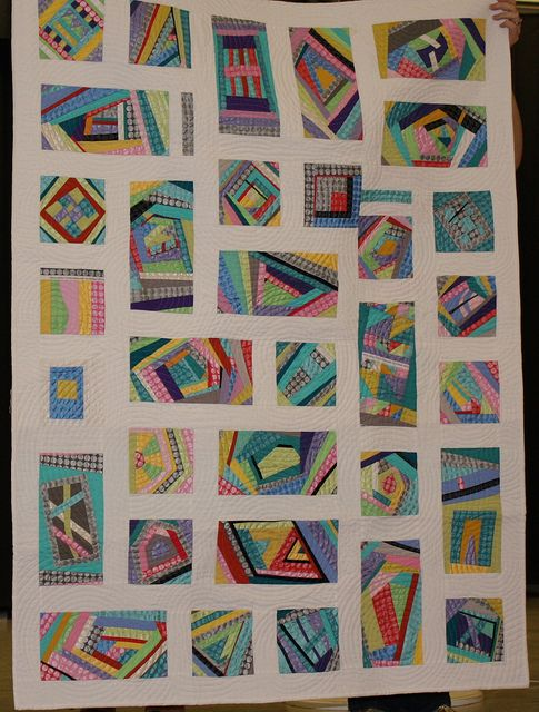 This is a fun strip-pieced quilt made by patty of the Kansas City Modern Quilt Guild.