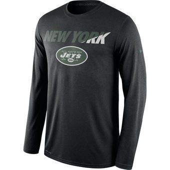 Nike New York Jets Black Legend Staff Practice Long Sleeve Performance T-Shirt