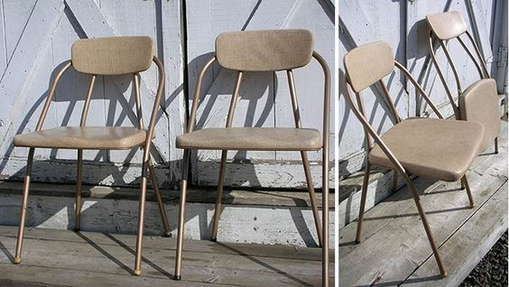 """Found these vintage folding chairs at Goodwill (6)- """"Stylaire"""" made by Hamilton Cosco - 1955"""