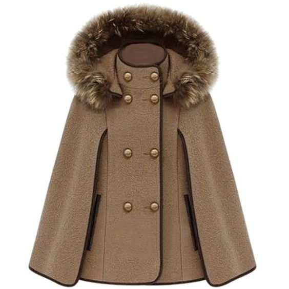 Khaki Ladies Cute Warm Winter Tweed Poncho Hooded Pea Coat (7935