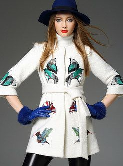 Embroidered Tight Waist Fashion Trench Coat