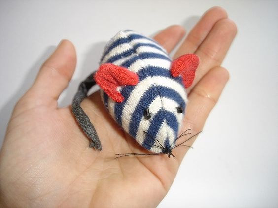 A mouse from an old sock #Mouse, #Recycled, #Sock