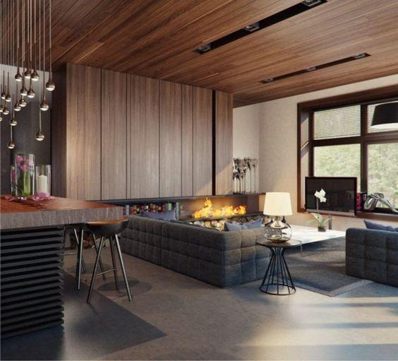 salon moderne avec lambris en bois chemine et suspensions - Salon Moderne Bois