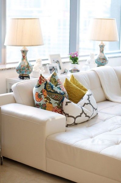 Throw Pillows For White Leather Sofa : 17 Best images about Forthehome Patterns, Tufted couch and Accent pillows