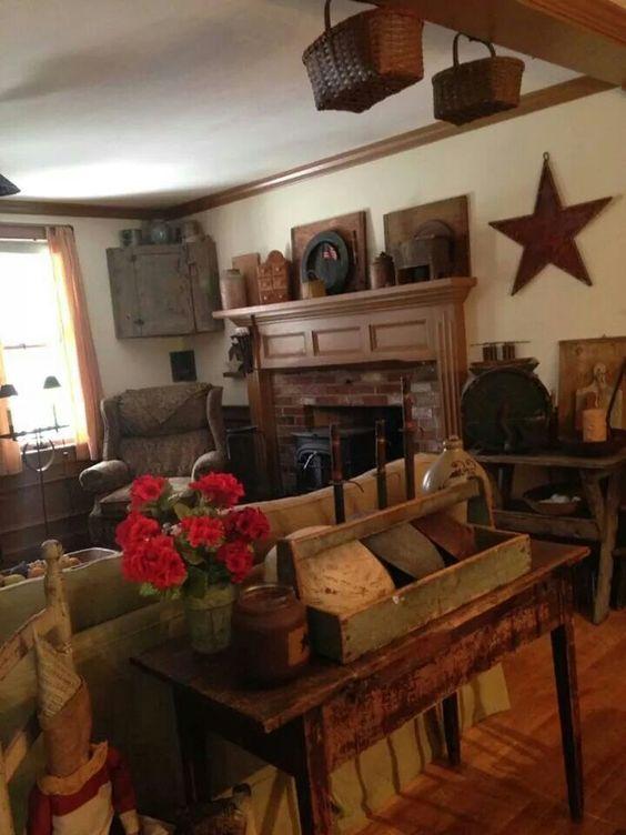 Warm mantels and mantles on pinterest for Primitive living room designs