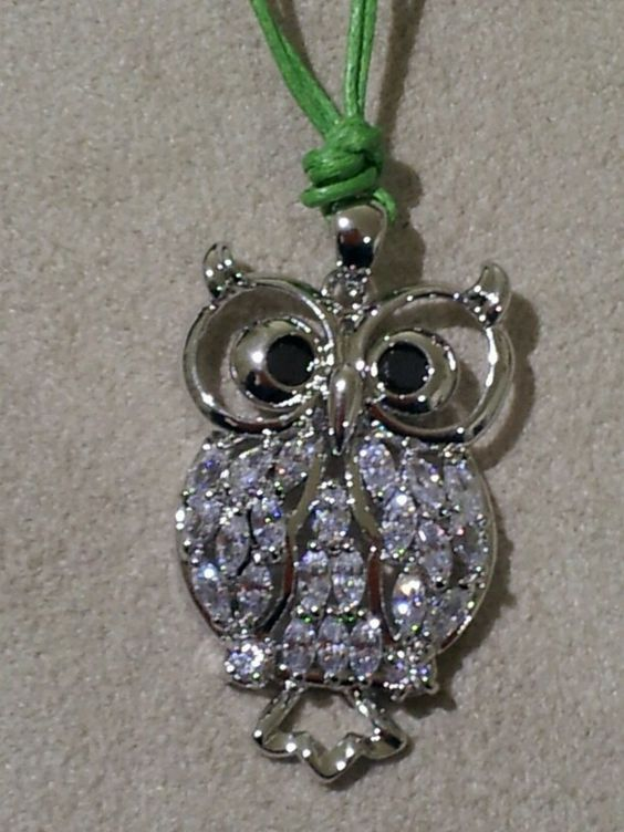 Pendente gufo in ottone rodiato e cubics | owl pendent rodhium brass and cubics
