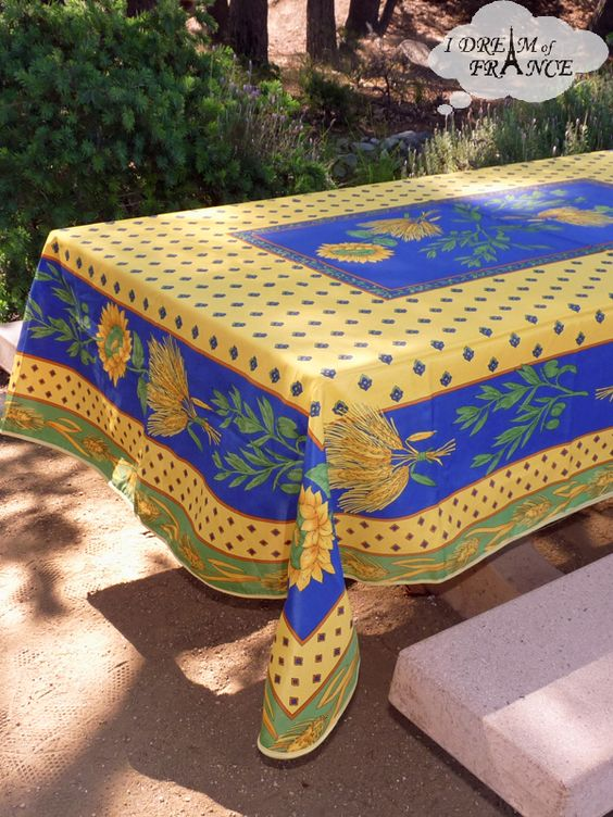 French Provencal Polyester Tablecloth   Tournesol Yellow With Blue   Round  And Rectangular | Outdoor Dining | Pinterest | Yellow Cottage And Outdoor  Dining