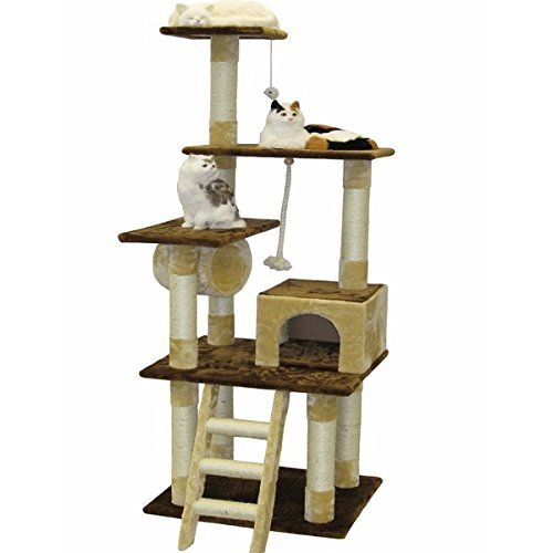 Posts covered by natural sisal rope and Faux fur Covering material Go Pet Club Beige/ Brown 67-inch Cat Tree Condo   : Cat tower