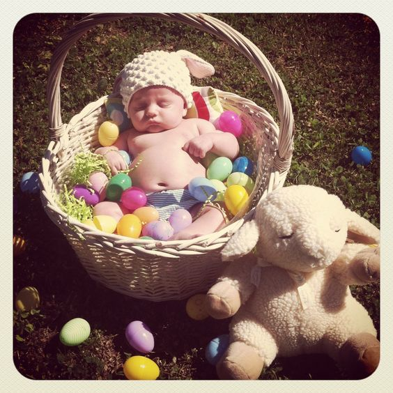 Picture Ideas With Twins: Baby's First Easter Picture Idea... And Conveniently The
