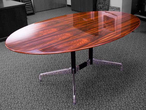 CUSTOM CONFERENCE Elliptical Table U2013 78u2033 X 48u2033 U2013 Rosewood Veneer Top In A  High Gloss Finish, U201cAuriumu201d Polished Chrome Base With Black Metal Streu2026