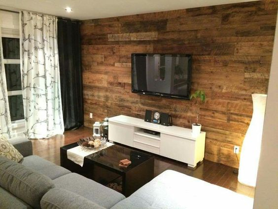 Mur en bois d co pinterest chic et salons for Decoration salon en bois