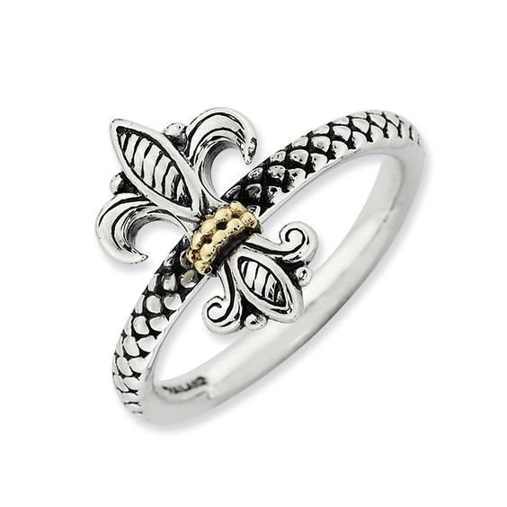 Stackable Antique Designed Fleur De Lis Ring only $69.00 - Stack Rings