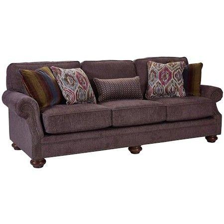 Broyhill Furniture - Heuer Walnut Chenille Fabric Sofa - 4260-3Q-4243-85