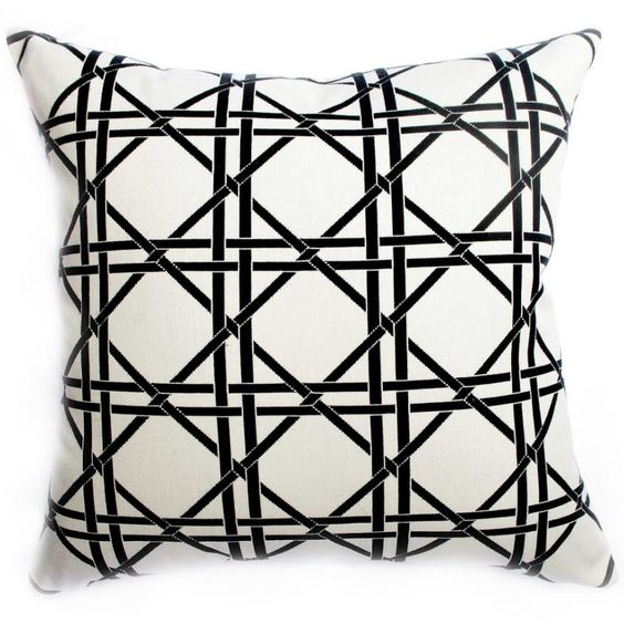Fabulously Fresh & Chic For Spring-British Cane Pillows! — British Cane Square Pillow-Ivory & Black