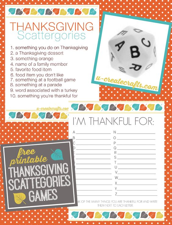 Thanksgiving Printables And Family Games To Play On Pinterest