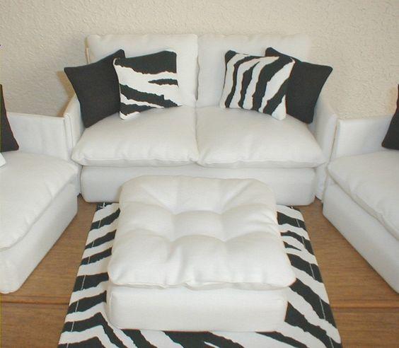 Barbie Furniture Living Room Set White With Zebra Black